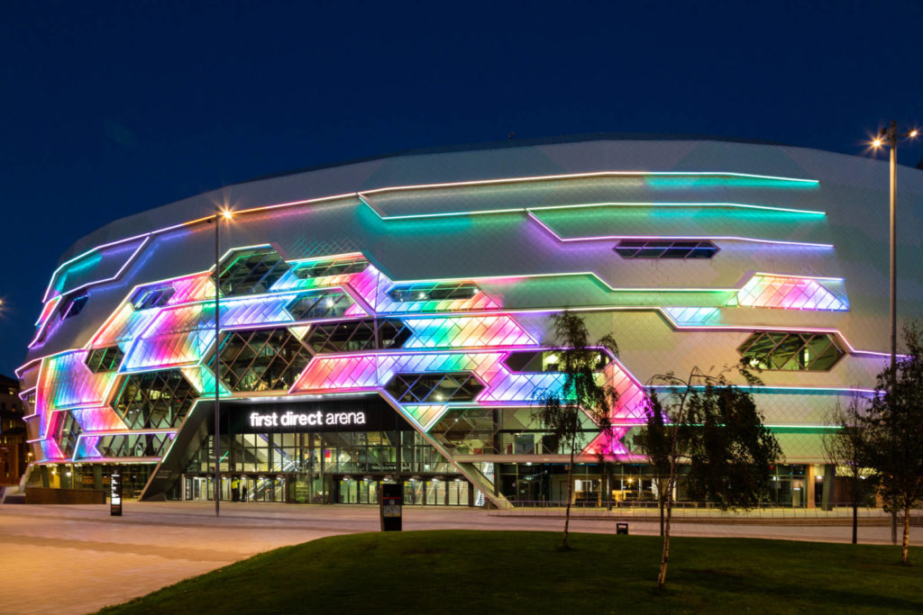 First Direct Arena, a multipurpose venue in Leeds, lit up colourfully