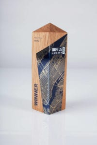 An award made of sustainable, recycled materials